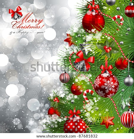 Christmas background with baubles and christmas tree. Vector illustration. - stock vector