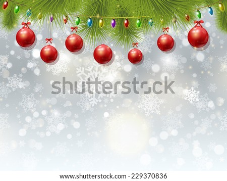 Christmas background with baubles and lights - stock vector