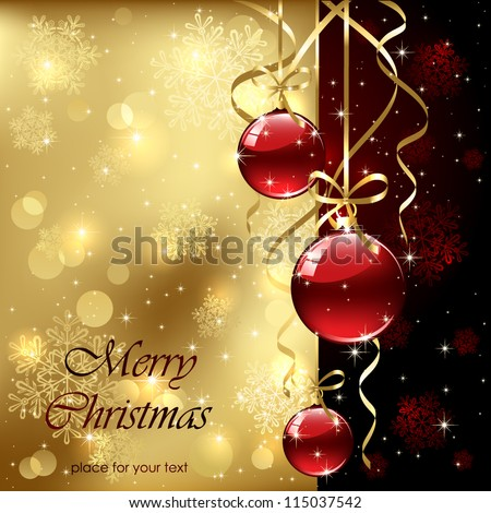 Christmas background with baubles, illustration. - stock vector