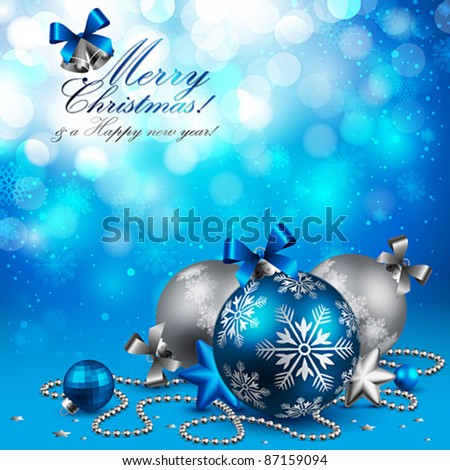 Christmas background with baubles on blue. Vector illustration. - stock vector