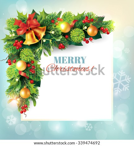 Christmas background with beautiful fir garland and place for message. Vector illustration. - stock vector