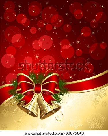Christmas background with bells and blurry lights, illustration - stock vector