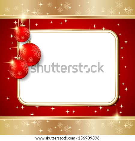 Christmas background with blank frame - stock vector