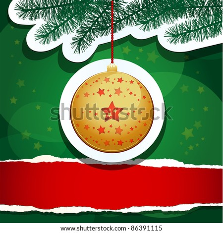 Christmas background with blank paper, vector