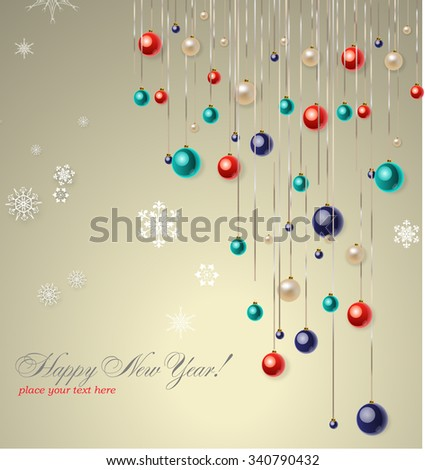 Christmas background with blue and red balls. Vector illustration.