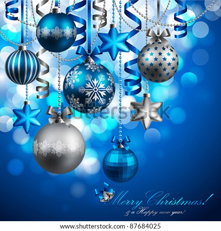 Christmas background with blue and silver baubles. Vector illustration. - stock vector