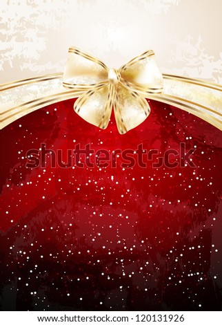 Christmas background with bow - stock vector