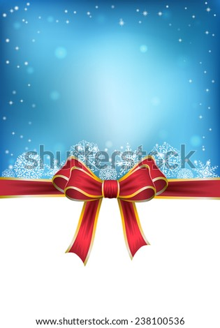 Christmas background with bow. vector illustration
