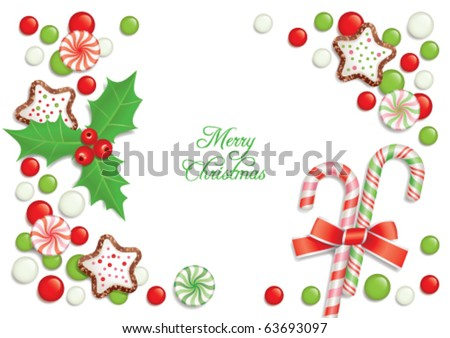 Christmas background with candies, composing a frame for any text - stock vector