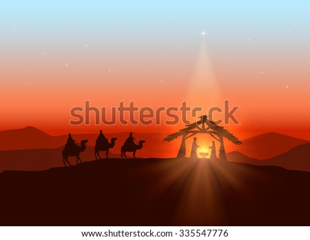Christmas background with Christian theme, shining star and birth of Jesus, illustration. - stock vector