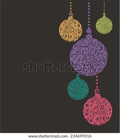 Christmas background with Christmas balls Hanging . Great for background greeting cards and invitations of the Christmas and New Year - stock vector