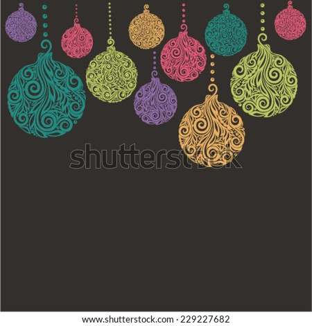 Christmas background with Christmas balls Hanging . Great for greeting cards - stock vector