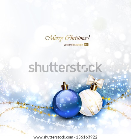 Christmas background with Christmas baubles  - stock vector