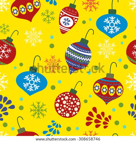 Christmas background with Christmas baubles. vector illustration - stock vector