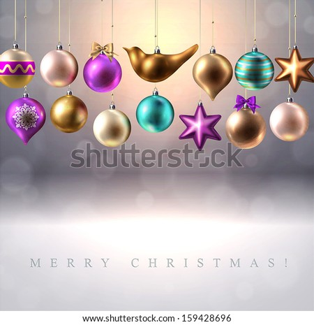 Christmas background with Christmas decoration, baubles, balls, bird and star, vector  - stock vector