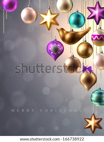 Christmas background with Christmas decoration, baubles, balls, bird and star, vector
