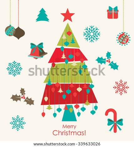 Christmas background with Christmas decorations. Vector illustration. - stock vector