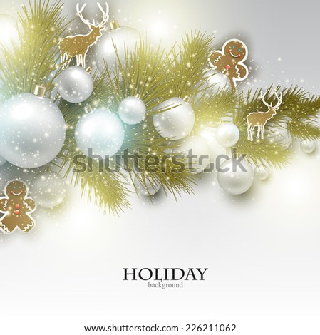 Christmas background with  Christmas toys, balls and  stars. Xmas Decoration Elements for design. - stock vector