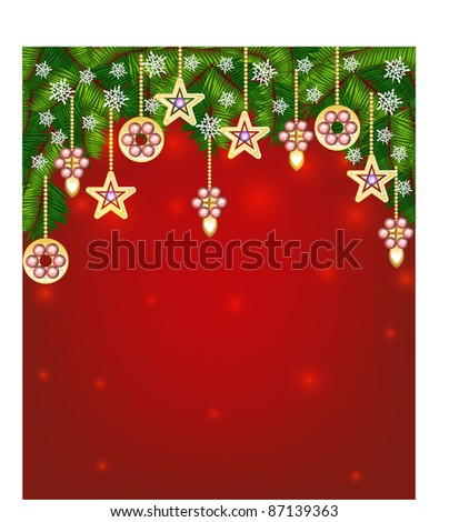 christmas background with  christmas tree - stock vector
