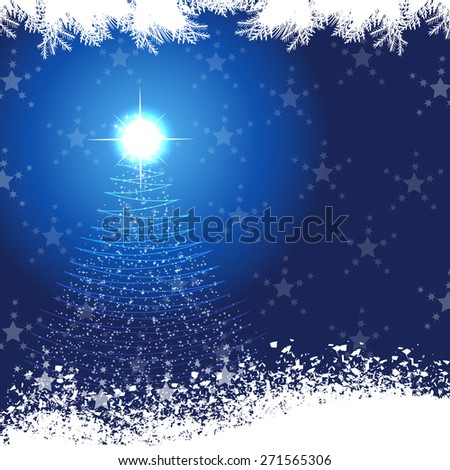 Christmas background with Christmas tree and stars  - stock vector