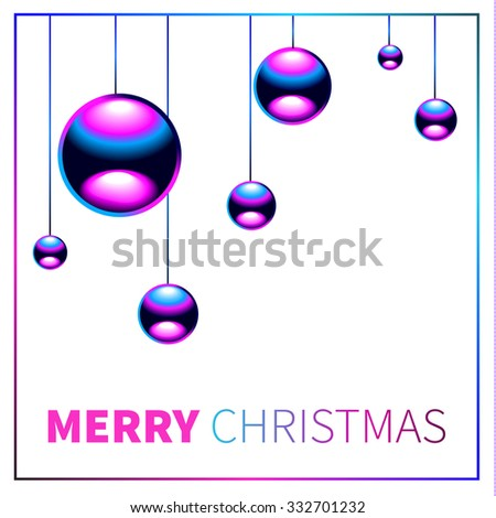 Christmas background with chrome metal balls. Happy New year and Merry Christmas. 2016
