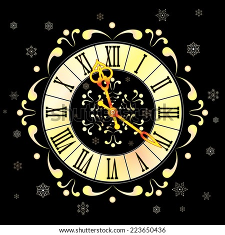 Christmas background with clock and snowflakes