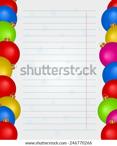Christmas background with colored Christmas balls and place for text - stock vector