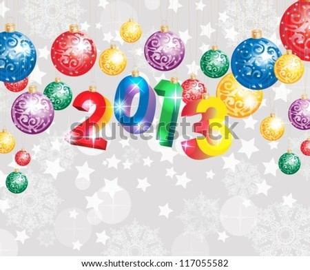 Christmas background with colorful decoration balls and snowflakes, vector