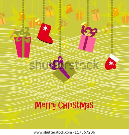 christmas background with colorful gifts - stock vector