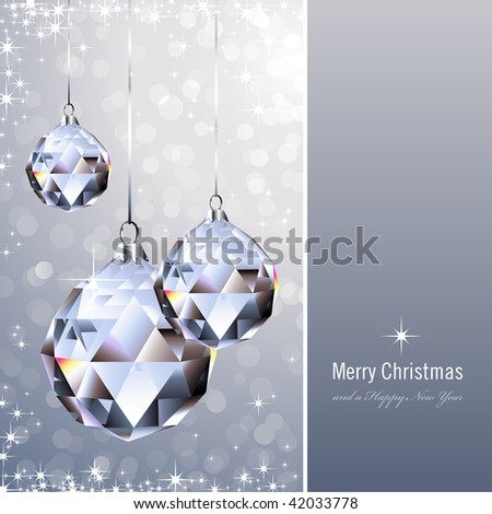 christmas background with crystal ornaments against a glittering background (background behind the panel is complete) - stock vector