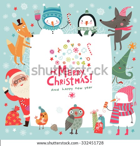 Christmas Background With Cute Characters