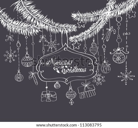Christmas background with cute decorations and place for text over dark blue, vector