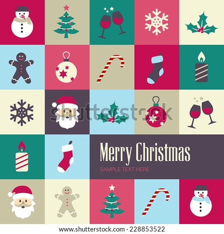 Christmas background with cute icons in flat design style.