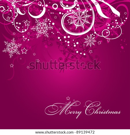 Christmas background with decoration, vector illustration