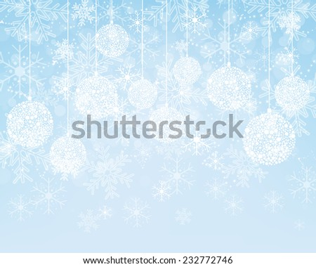 Christmas background with decorations - stock vector