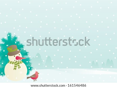 Christmas background with empty blank for text. Vector background of Snowman, fir tree and cardinal bird  on winter landscape  with snowflakes.  - stock vector