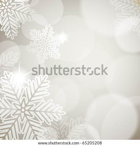 Christmas background with festive lights and snowflakes - stock vector
