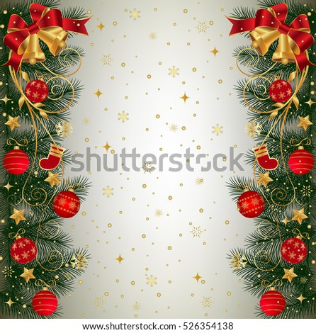 Christmas Background With Fir Branch Border Bells Ribbons And Decorations