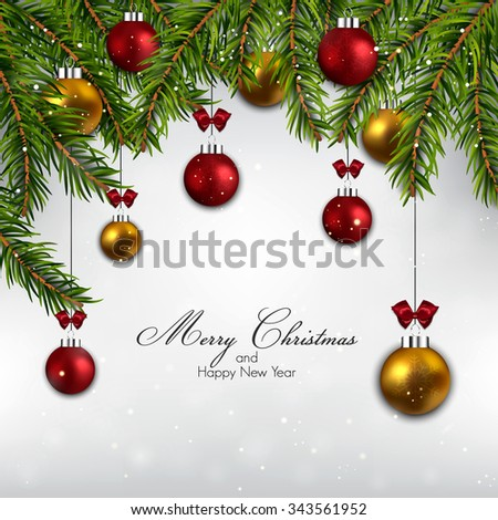 Christmas background with fir branches and balls. Vector - stock vector