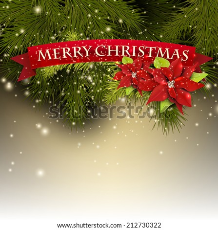 "Christmas background with fir branches and red banner ""Merry Christmas!"" - stock vector"