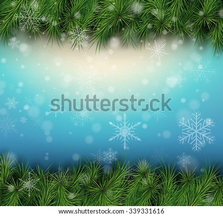 Christmas  background with fir branches and snowflakes. Vector Illustration. - stock vector