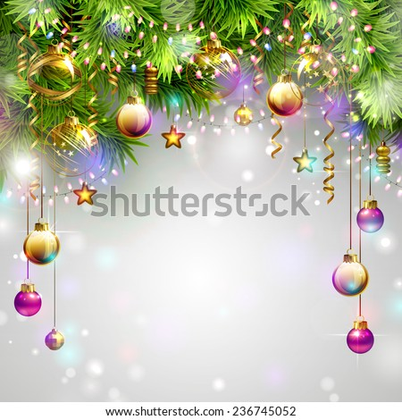 Christmas background with fir tree and evening baubles  - stock vector