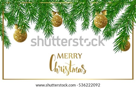 Christmas background with fir tree branches, golden shiny balls and bows. Vector illustration