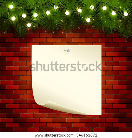 Christmas background with fir tree branches, light bulbs and note paper on a brick wall, illustration. - stock vector