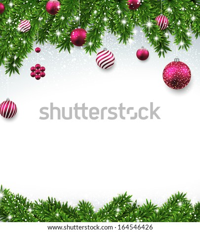 Christmas background with fir twigs and magenta balls. Vector illustration.  - stock vector