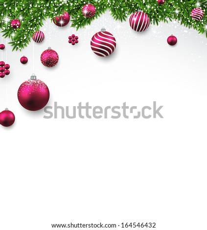 Christmas background with fir twigs and magenta balls. Vector illustration.