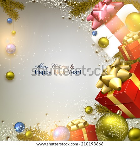 Christmas background with fir twigs, gifts and colorful balls. Xmas baubles.Vector illustration. - stock vector
