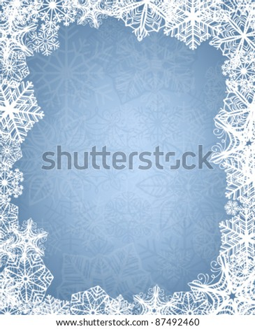 Christmas background with frame of snowflakes - stock vector