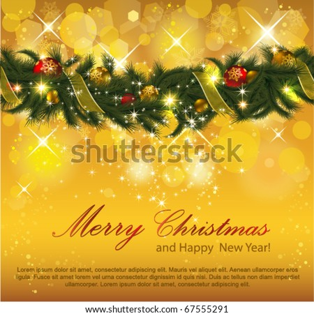 Christmas Background with Garland. Eps10. - stock vector