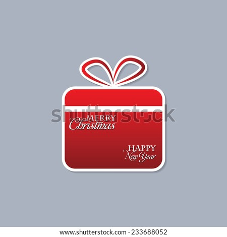 Christmas Background With Gift Box On Grey Background - stock vector